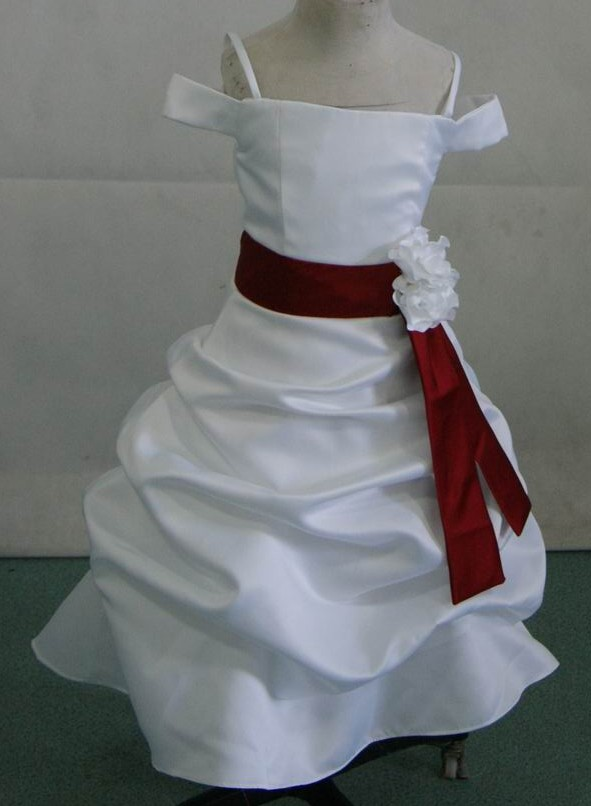 white satin gown with apple red sash