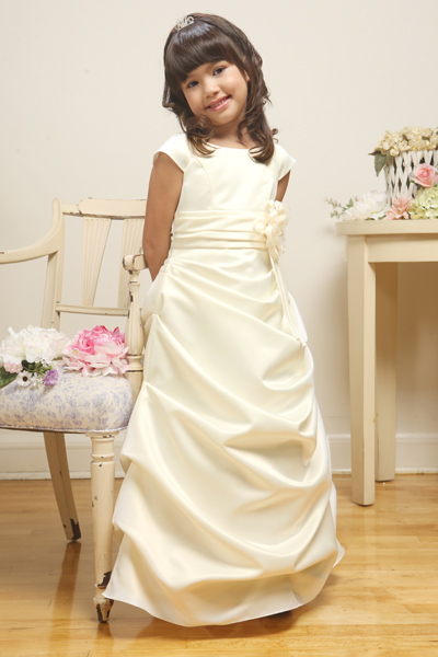 long satin girls pageant dress with cap sleeves