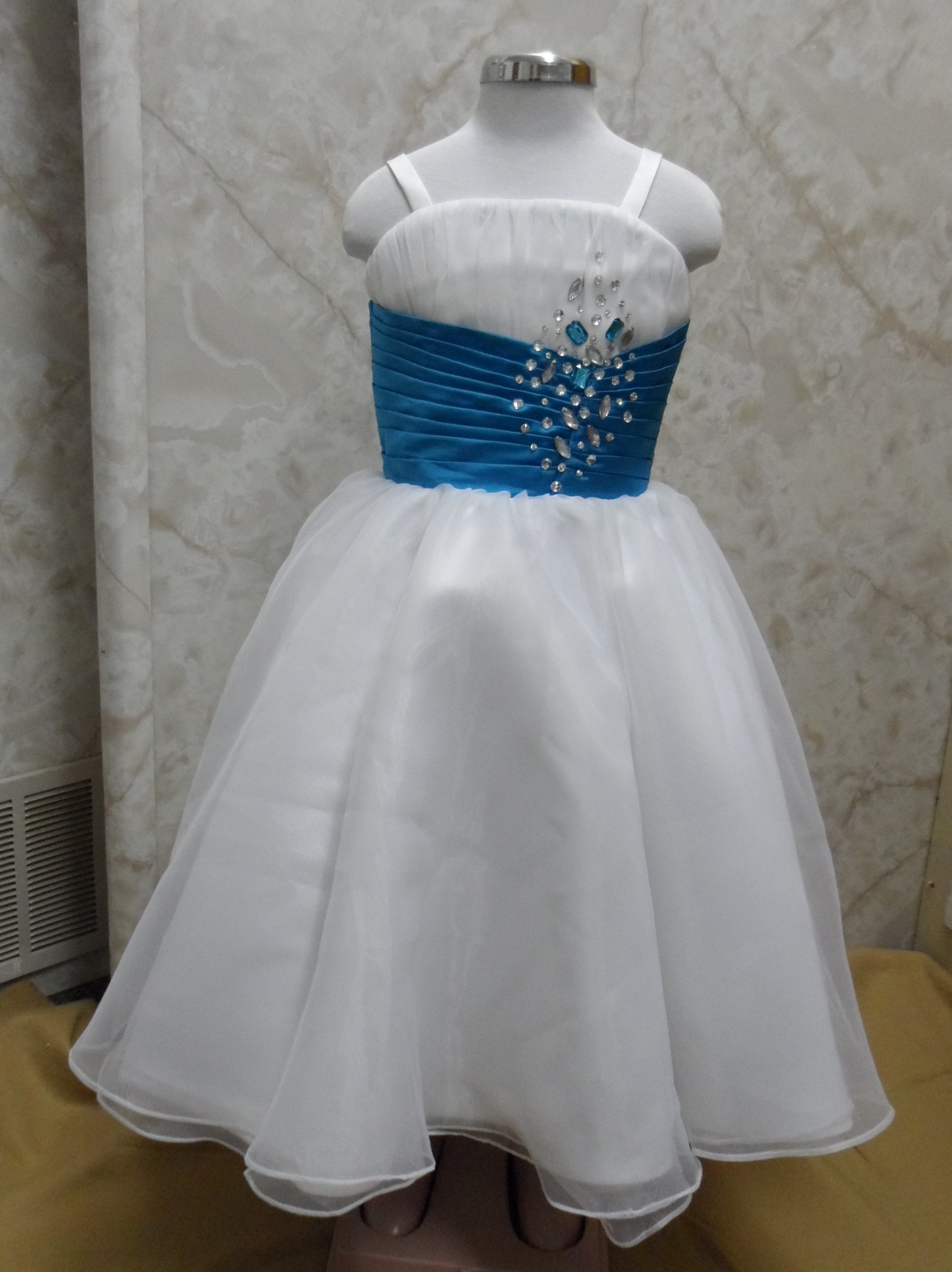 blue and blue flower girl dress