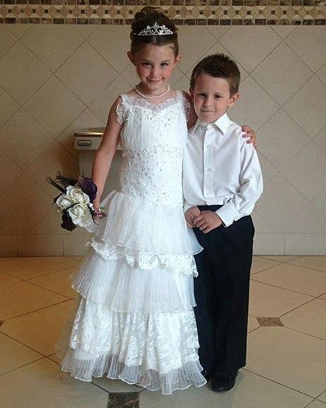 beaded lace and pleated organza flower girl dress