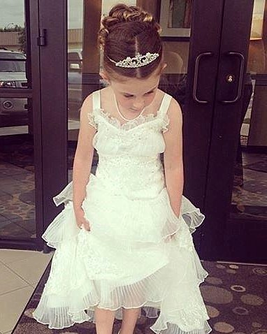 pleated organza flower girl dress with tiered skirt