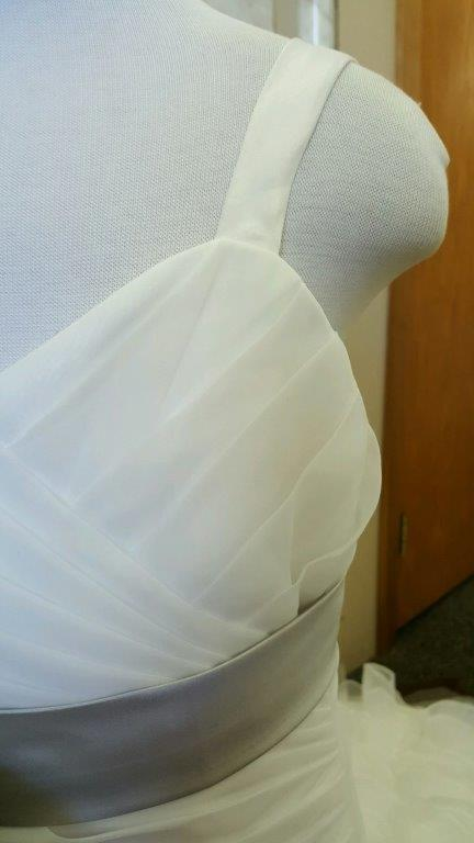 ivory and gray miniature wedding gown