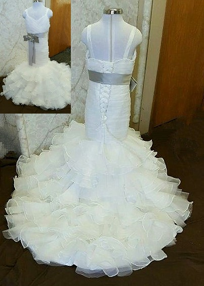 ivory wedding dress with gray sash