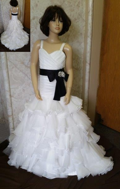 mini wedding dress with black sash