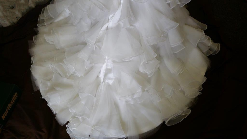 flower girl dress with layered skirt train