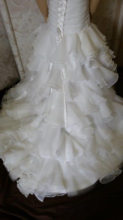 flower girl dress with layered skirt and train