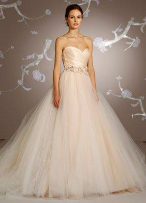 Sherbet tulle ball bridal gown