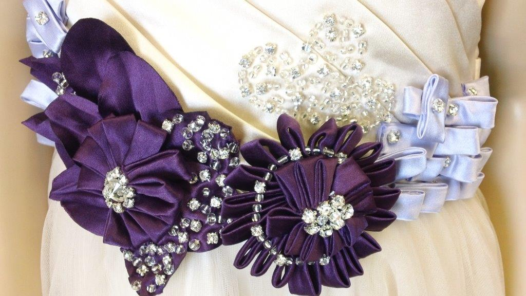hand made purple flower on dress