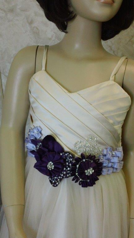 light champagne and purple flower girl dress