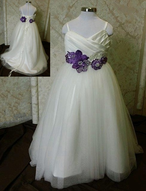Ivory and purple miniature wedding gowns
