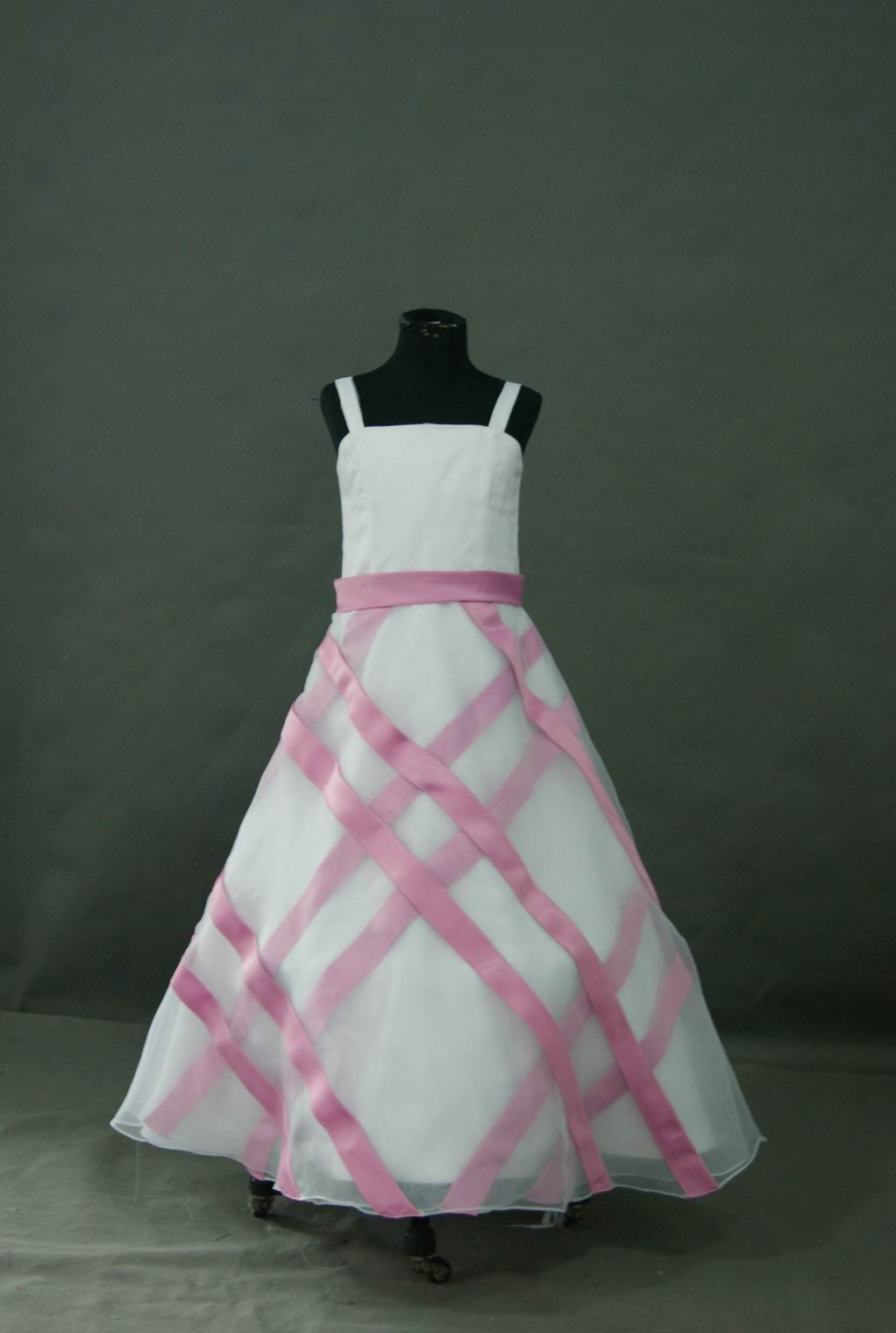 pink and white flower girl dress
