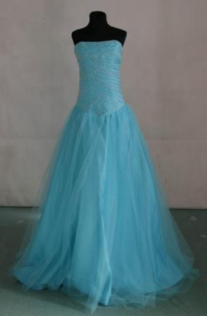 Strapless tulle mermaid color prom dress