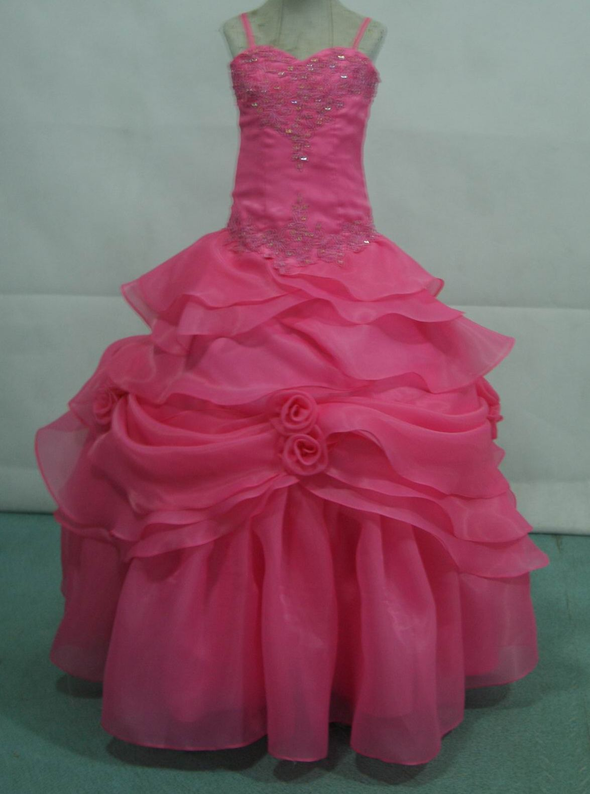 coral sweetheart pageant gown