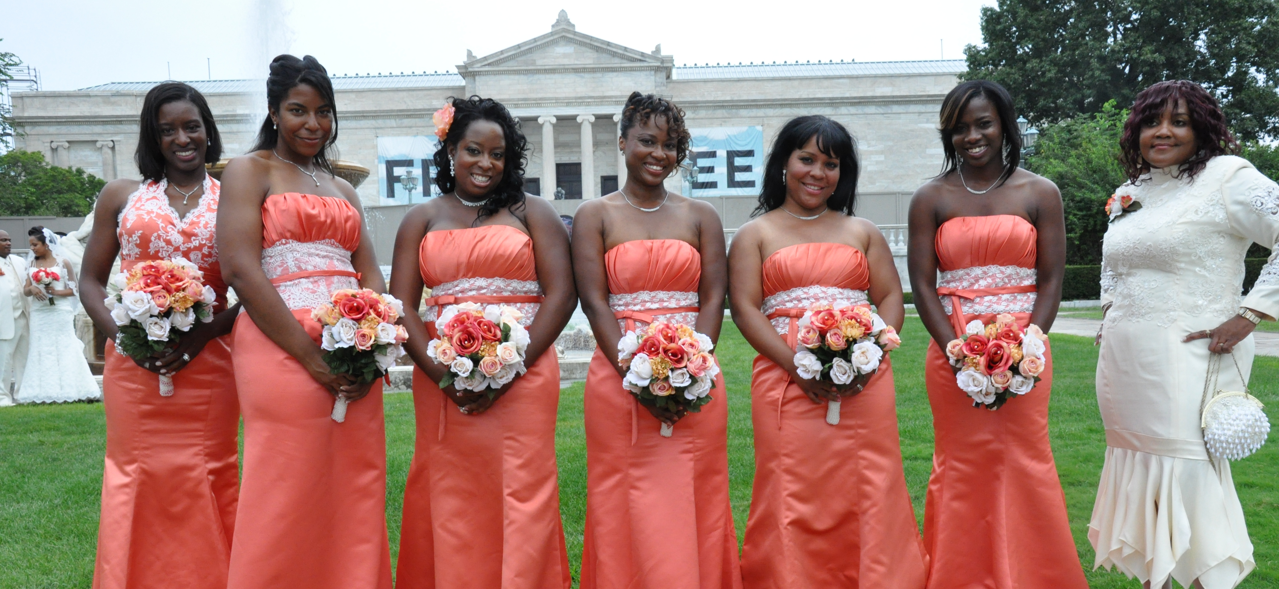 Persimmon bridesmaid dresses