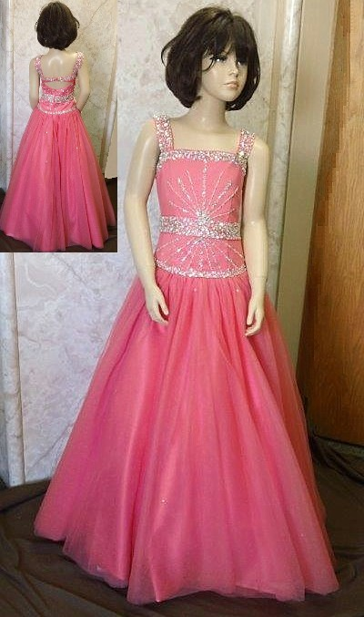Open back 2015 Girls Pageant dress