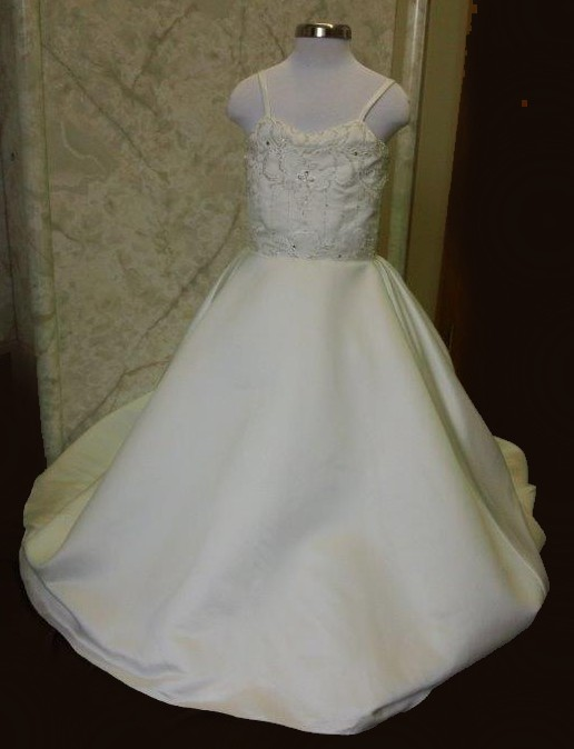 Flower girl dress with beaded embroidery