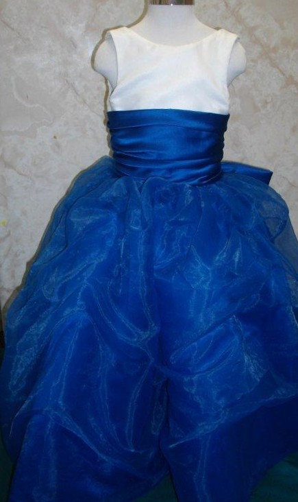 Royal blue and white flower girl, pageant dress