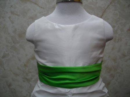 White pickup dress with lime green sash