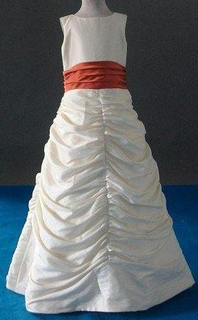 ivory pickup dress with burnt orange sash
