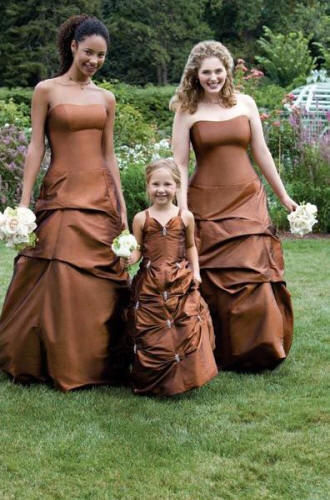 brown pick up flower girl dress