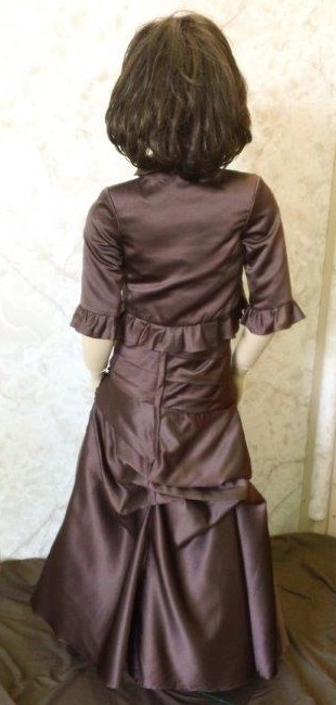 Brown long pleated flower girl dress with jacket