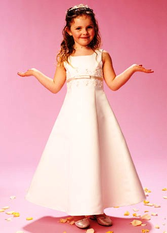 Long a-line sleeveless empire flower girl dress