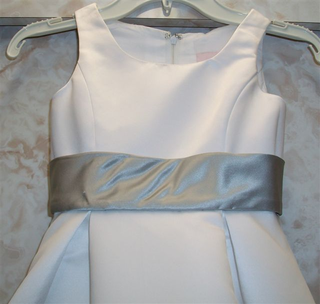 flower girl dress with box pleats and platinum band