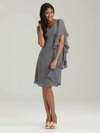 One Shoulder Chiffon dress with asymmetrical sleeve