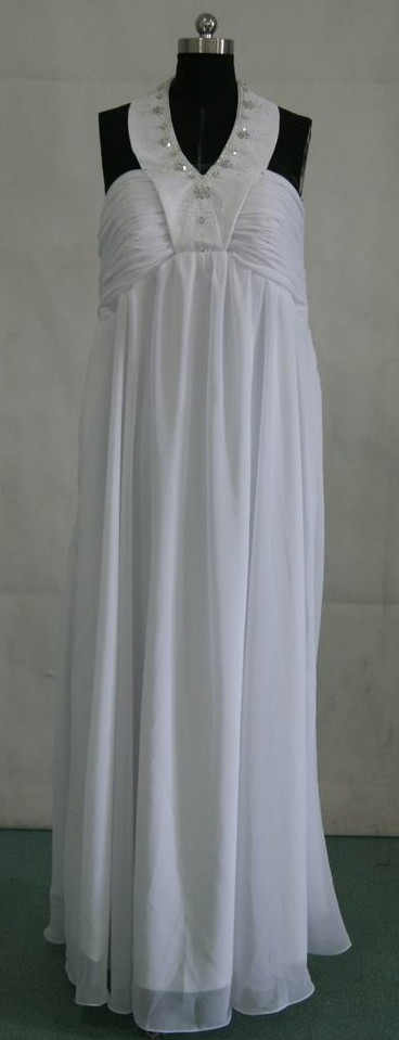 White sheath halter wedding dress