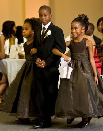 brown and black tuxedo and dresses