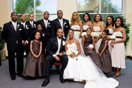 brown wedding party gowns