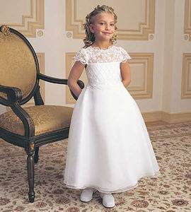 legant and Luxurious satin lace flower girl dress $50.