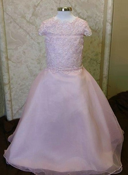 long pink flower girl dress