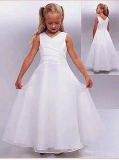 Sleeveless draped bodice long flower girl dresses