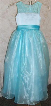 custom pool blue flower girl dress