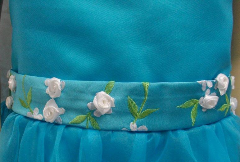 tiffany blue with white flowers, and green leaves