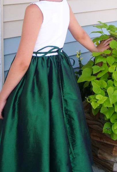 girls green and white dresses