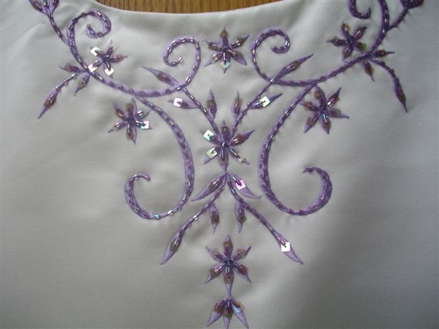 Victorian lilac bodice embroidery