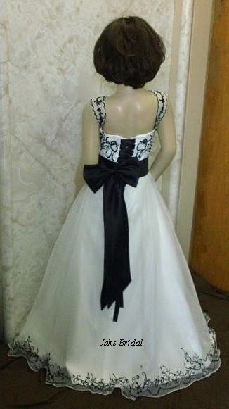 ivory and black flower girl dress