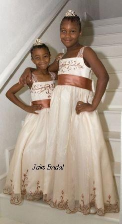 ivory dresses with copper trim