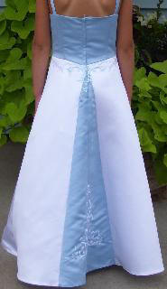 baby blue and white Flower girl gown