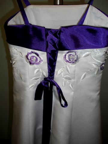 White dress with grape trim