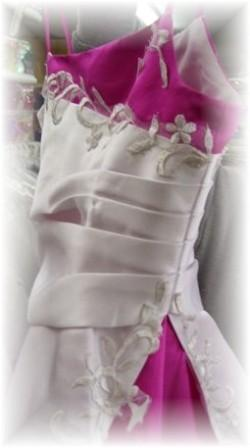 white and fuchsia Flowergirl Dresses