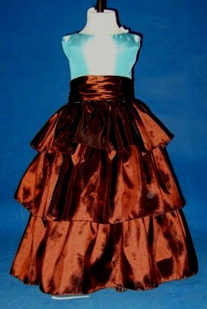 pool blue and chocolate ruffled skirt
