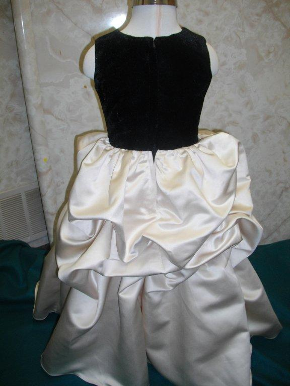champagne ruched dress with black velvet bodice