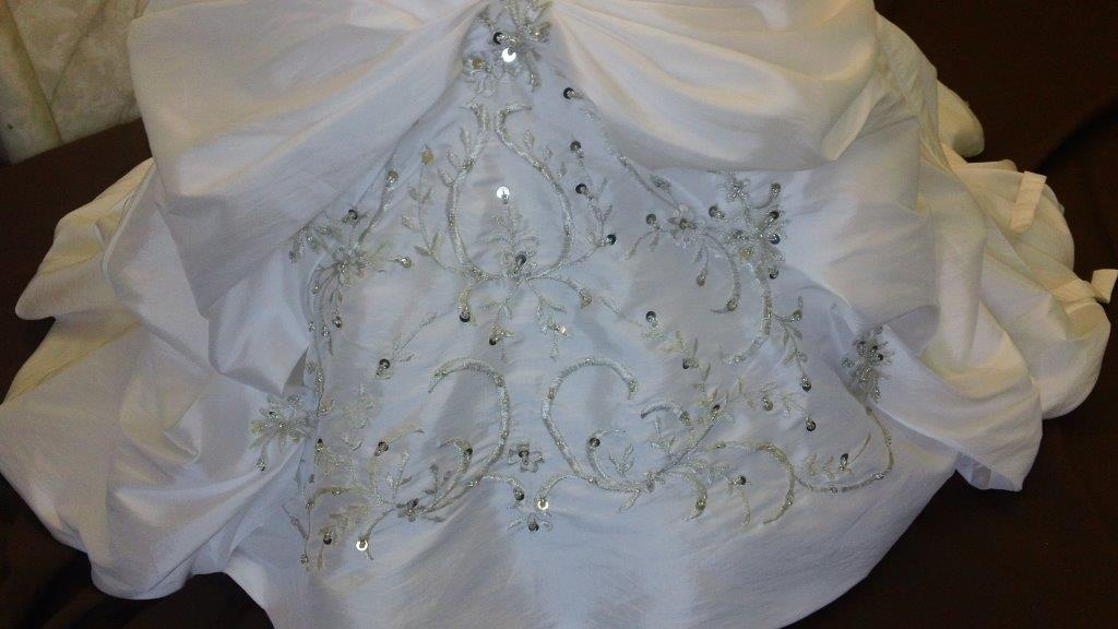 ivory embroidered sequin flower girl dresses
