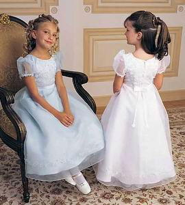 flower girls dress with sheer sleeves
