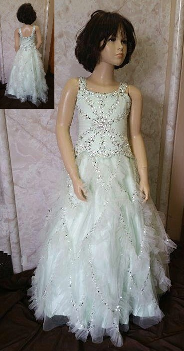 green sequin pageant dresses