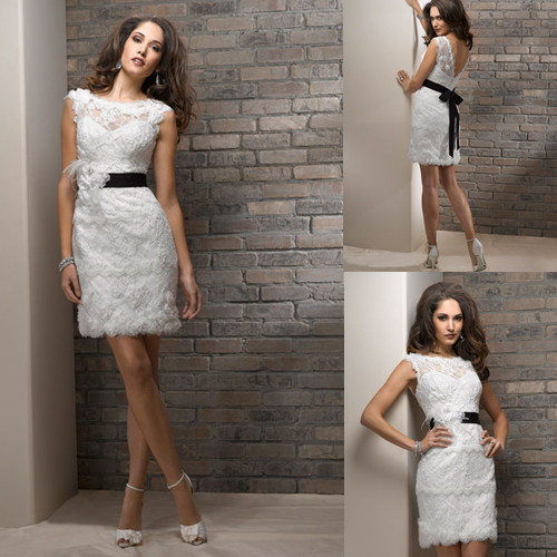 Short lace wedding dress with boat neck and pencil skirt