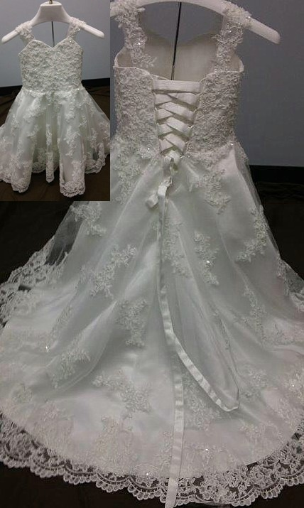 infant lace wedding dress with train